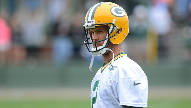 Packers kicker Mason Crosby during training camp practice at Ray Nitschke Field.
