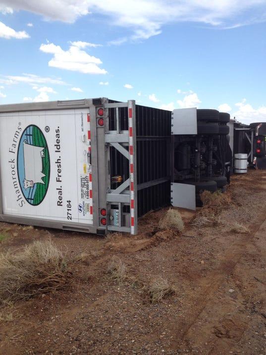 Semi trucks blown over