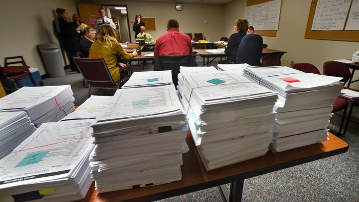 County employees and investigators in the Jacob Wetterling case review thousands of documents in the case file Thursday, Nov. 17, in the Wetterling Room at the Stearns County Law Enforcement Center. Much of the case file will become public information but private details must be redacted first. Officials have read through more than 37,000 pages of investigative reports.