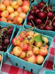 Fresh cherries at the Mead Orchards booth at the Pleasantville