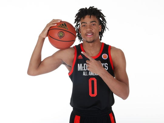 Mar 23, 2019; Atlanta, GA, USA; McDonalds High School All American forward Trendon Watford (0) poses for a photo on portrait day at the Hilton Hotel Crystal Ball Room before the 2019 McDonalds All American Game. Mandatory Credit: Brian Spurlock-McDonalds