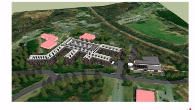 Drawing of proposed mixed-use development of 8.8 acres of land at former Grafton State Hospital.