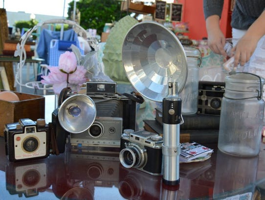 Antique cameras were among the unique items offered