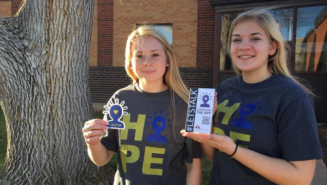 Belt sophomores Keely Drummond (left) and Maggie Andrews worked with Alliance for Youth to develop and promote an app to provide mental health resources to teens in Cascade County.
