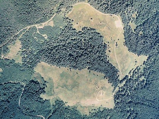 This aerial photo of Marys Peak taken in 2007 shows