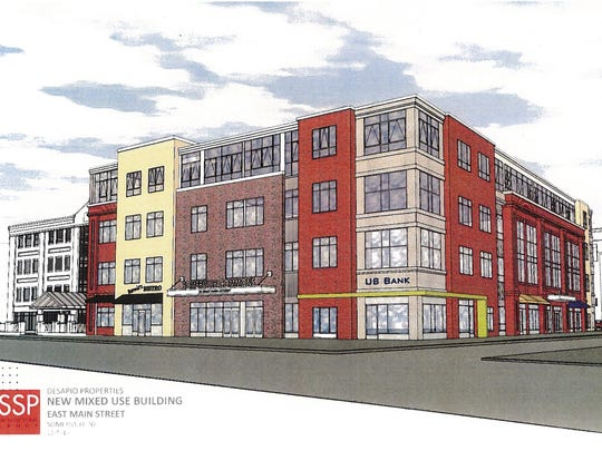 A new multi-use building at the corner of E. Main and