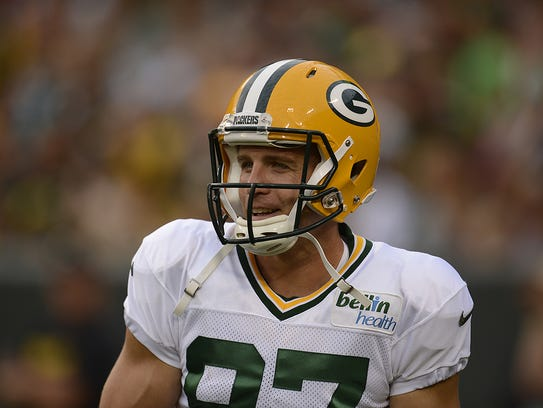 Green Bay Packers receiver Jordy Nelson cracks a smile