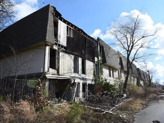 An abandoned and dilapidated apartment complex down