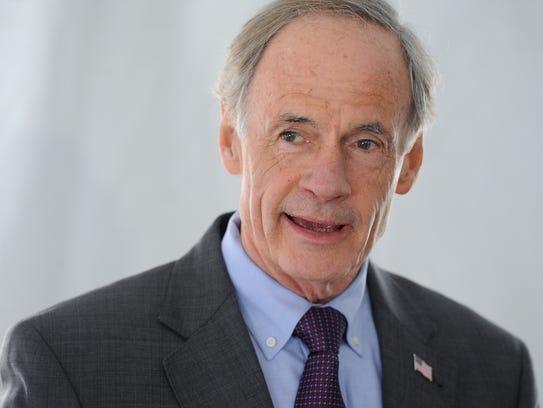 U.S. Senator Tom Carper speaks at the groundbreaking