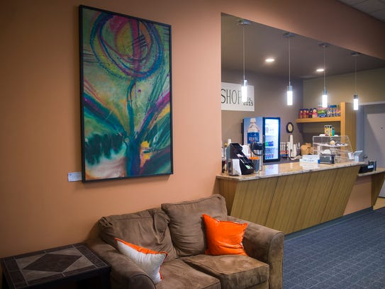 One of the seating areas at Coffee Shop Hanover, photographed