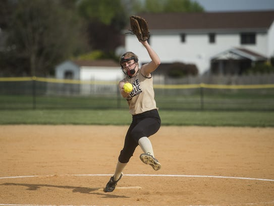Delone Catholic pitcher Cassie Rickrode delivers to