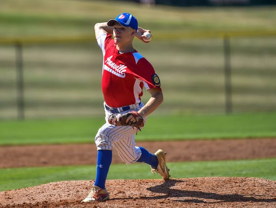 Alec Barr pitches for Anneville during the Region 4