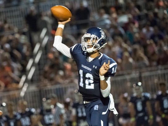 Chambersburg's quaterback Tyler Collier is passing