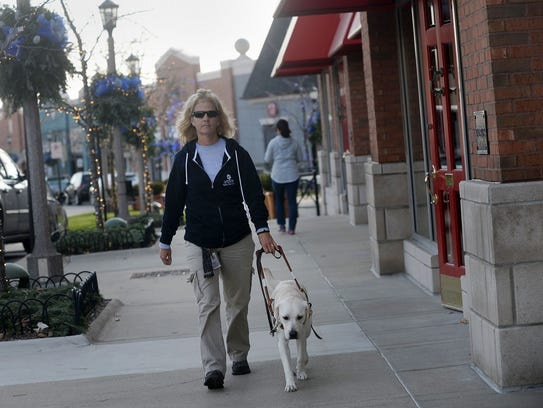 Guide Dog Mobility Instructor Sue Hackman, of Leader