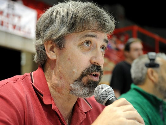 Wichita Falls Wildcats announcer Charles Campbell works