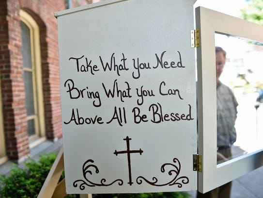 """A """"Blessing Box""""  in front of Central Presbyterian"""