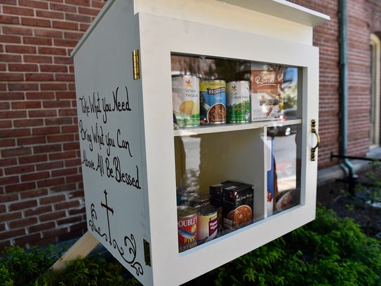"""A """"Blessing Box"""" is setup in front of Central Presbyterian"""