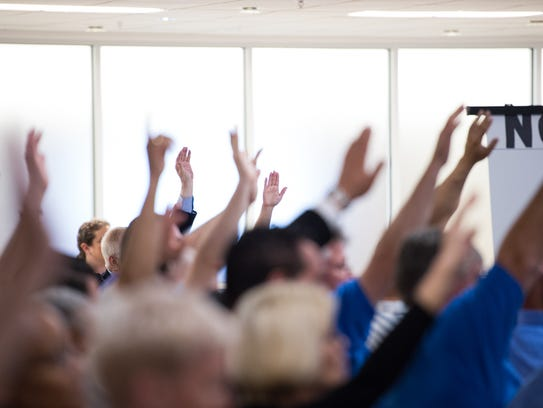 Hands are raised during voting at the Democratic State