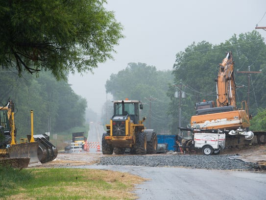 View of construction equipment on Howell School Road