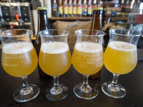 A lineup of beer glasses with the beer from 2nd Act