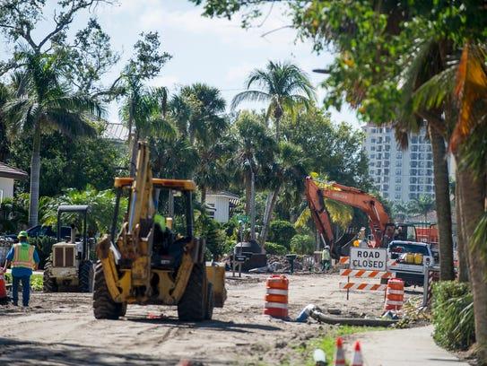 Vanderbilt Drive's construction crew works on Thursday