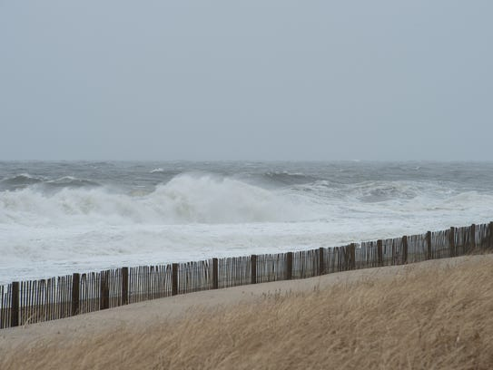 Waves crash onto the shore at Rehoboth Beach on the