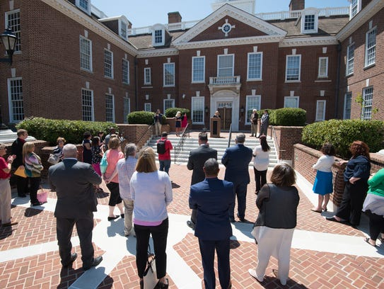Supporters gathered at a rally the Delaware PTA held