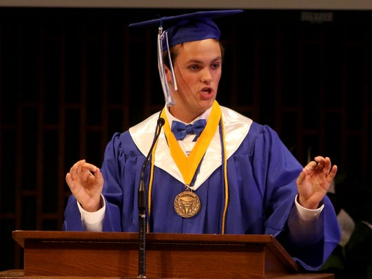 Charles Wolf gives his salutatory address at Wichita Christian School's graduation ceremony Friday, May 26, 2017, in Edgemere Church of Christ.