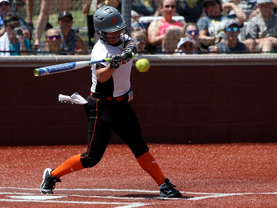 Petrolia's Lindy Alexander hits a single in Game 2