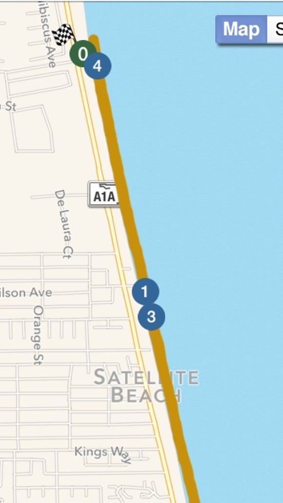 Approximate path we'll take at 6:30 a.m. Wednesday from Hightower Beach Park.
