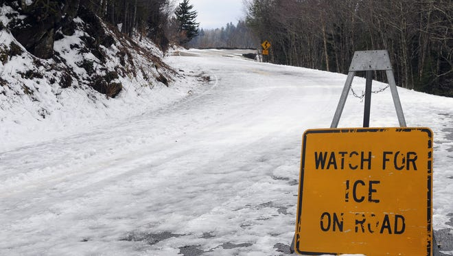 The road to Clingmans Dome off U.S. 441 in the Great Smoky Mountains National Park is covered in ice and snow in this file photo. All of U.S. 441 is now closed for icy conditions.