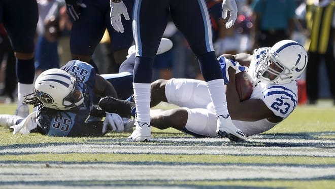 Indianapolis Colts running back Frank Gore (23) falls into to end zone for a touchdown in the first quarter of their game Sunday, October 23, 2016, at Nissan Stadium in Nashville TN.