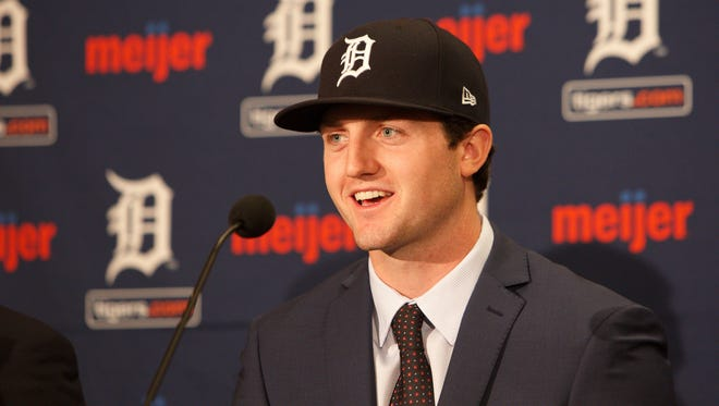 Casey Mize is introduced at Comerica Park in Detroit on Monday.