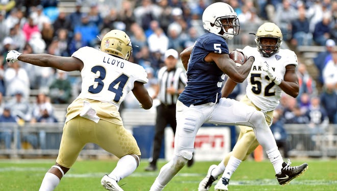 DaeSean Hamilton (5) is only seven receptions away from Penn State's career mark for a receiver. Don't be surprised if that falls Saturday against Indiana. The Hoosiers may be vulnerable in the secondary because of injuries.