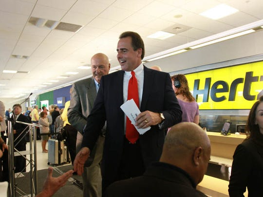 Hertz CEO, Mark Frissora,  along with Florida Governor Rick Scott formally  made the announcement Tuesday May,7, 2013 at Southwest Florida International Airport that the Hertz Corporation is moving its world headquarters to Estero.