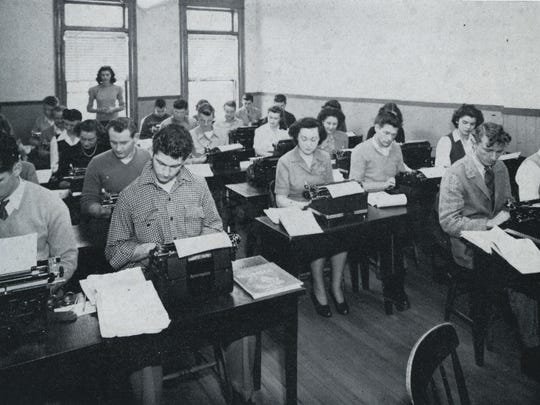 A typewriting class at Champlain College, circa 1956.