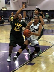 Sophomore Katelyn Yuzos tallied 15 points for the night in the first round of the class 2A state basketball championships at Mescalero Mar. 4.