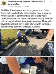 Post from the Shelby County Sheriff's Office Facebook