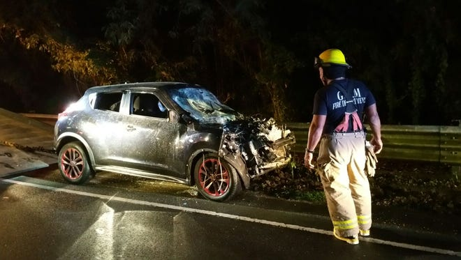 A two-vehicle crash occurred near Song Market on Route 10, near the Route 4 intersection, around 7:25 p.m. on Dec. 13, according to Guam Fire Department
