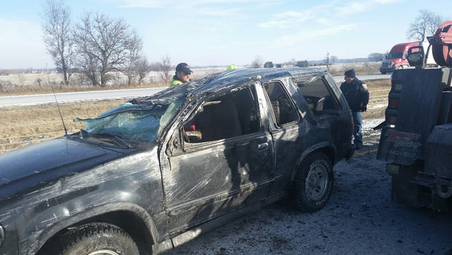 The Ford Explorer involved in the roll over crash on I-65, just south of Crown Point.