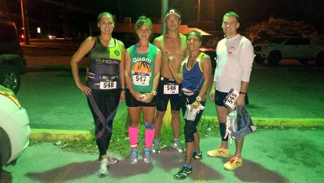 Guam's five ultramarathon runners that took on the Guam Running Club's Ultra Run on Friday, Apr. 22. From left to right are: Barbara Tayama, Tina Tainatongo, Hidefumi Iseki, Denise Reyes, and Brian Ceraldi