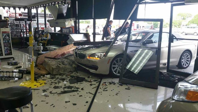 A car slammed into a business on South U.S. 1 in St. Lucie County on Monday, July 24, 2017.