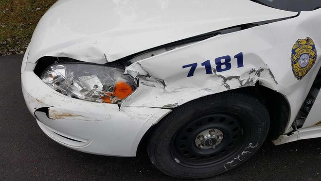 The front of a Clarksville Police patrol car hit during a road rage incident on Dec. 23.