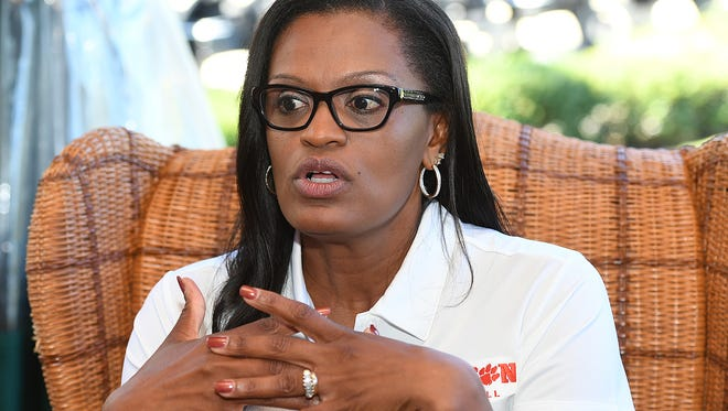 Clemson women's basketball coach Audra Smith talks to the media during the annual Clemson basketball media day at The Reserve at Lake Keowee in Sunset, S.C. on Wednesday.