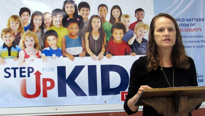 Dr. Amy White, of Southern Tier Pediatrics, discusses the impact poverty has on children during Wednesday's State of the Child in Chemung County breakfast.