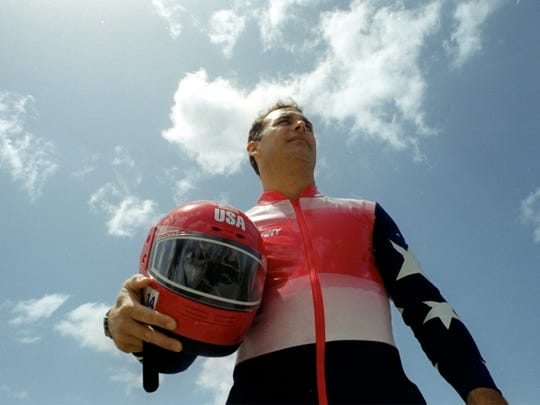 A file photo of Naples native Brian Shimer before competing for USA Bobsled in the 2002 Winter Olympics in Salt Lake City, Utah. Shimer was the driver for the four-man bobsled team that won bronze.  Edition: Final Published: 10/19/2001 Page: C01 Keywords: olympics Photo: Brian Shimer As the sun begins to set on his Olympic bobsledding career, 39-year-old Brian Shimer of Naples is hoping for a storybook finish at the upcoming Winter Games in Salt Lake City. Lisa Krantz/Staff
