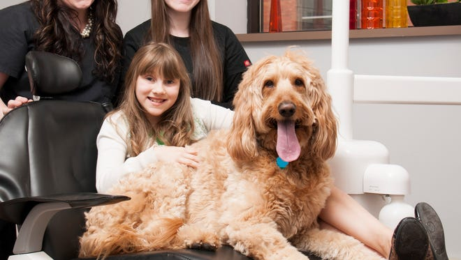 At Boudry Dental, Bailey is surrounded by, clockwise, Dr. Tammy Boudry, team member Alexandra Schreiber and Cassidy Schreiber, a 12-year-old dental patient who enjoys having Bailey next to her.