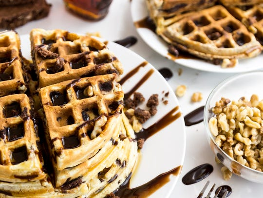 Waffles made with brownies in the batter are perfect