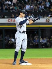 Yankees right fielder Aaron Judge (99) reacts after hitting a double against the Chicago White Sox during the sixth inning at Guaranteed Rate Field on Tuesday, June 27, 2017.