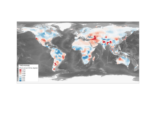 This map shows trends in total land water storage,